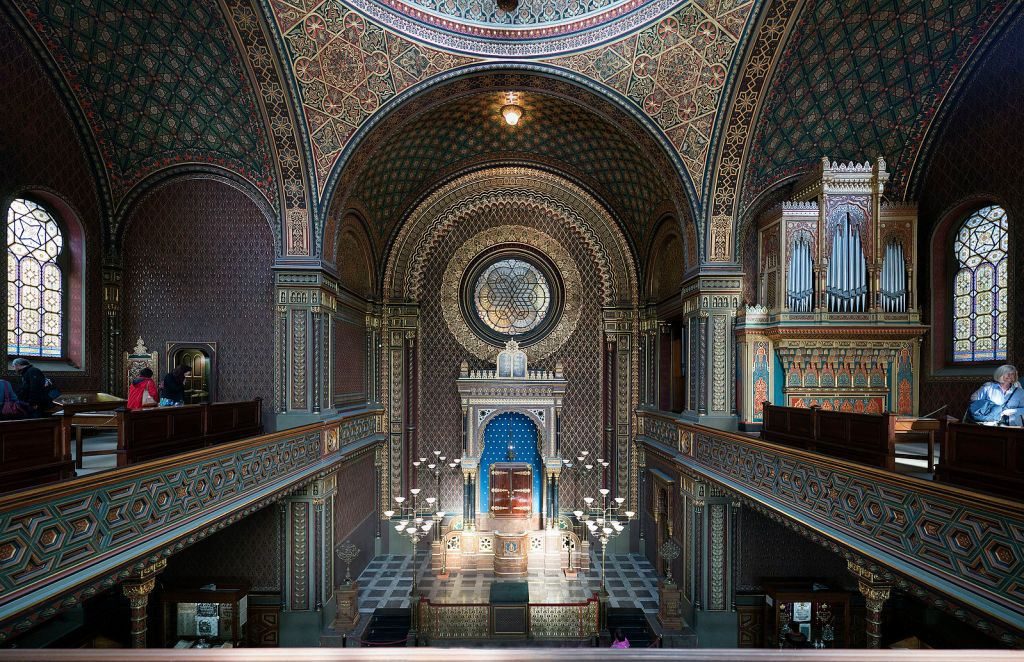 Interior of Prague's Spanish Synagogue in the Jewish Quarter