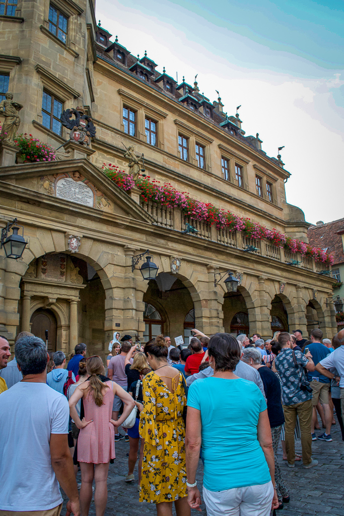 The crowd gathering for the Rothenburg Night Watchman Tour