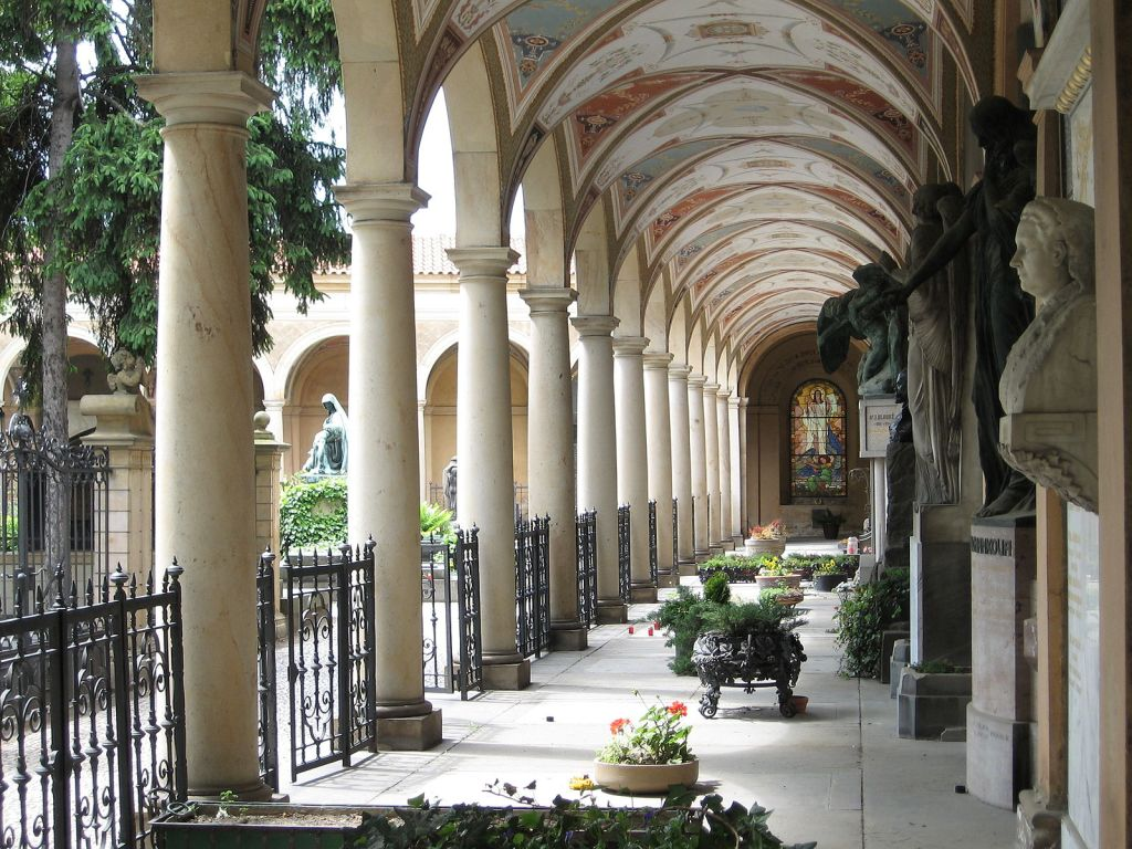 One of the peaceful walkways surrounding the Vyšehrad cemetery in a 4 day Prague itinerary