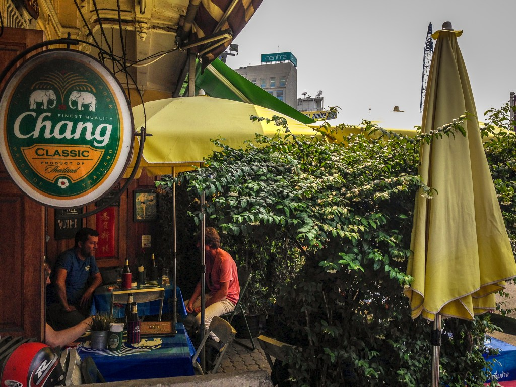 Enjoying a beer at a cafe in Bangkok, Thailand