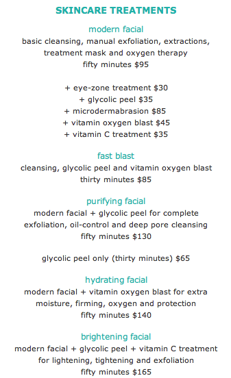 Blue Mercury Facial Menu