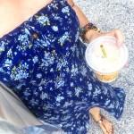 Floral Strapless Blue Summer Dress