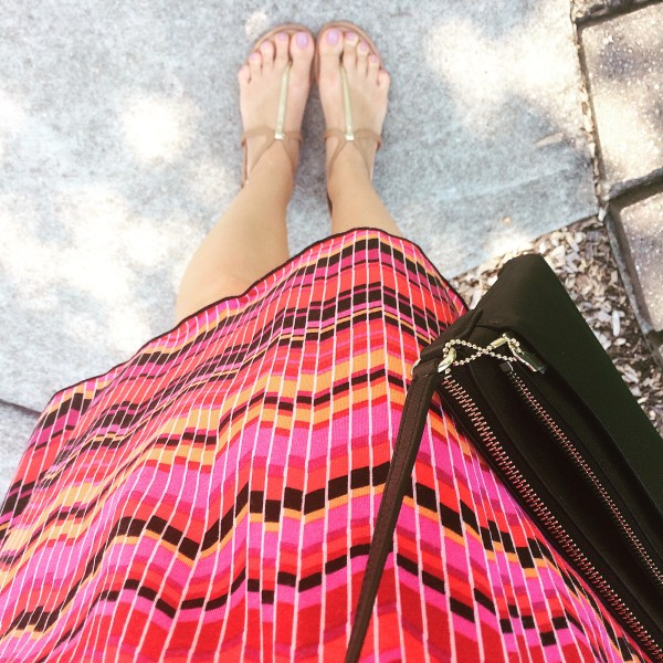 Pink, red and black striped summer dress