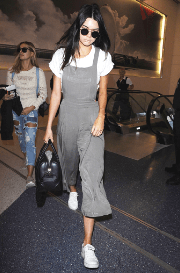 Kendal jenner wearing Pleated Wide-Leg Overalls