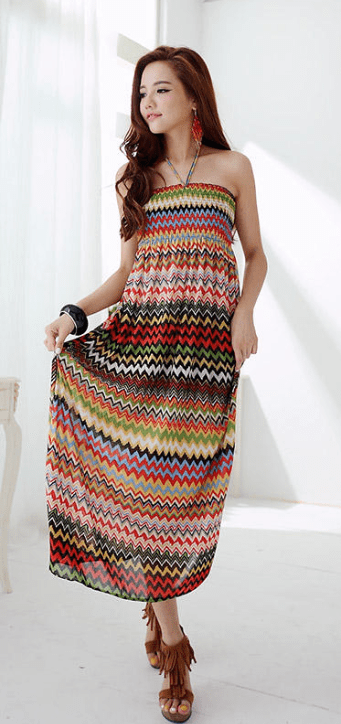 Red Zig Zag Ethnic Pattern Halter Strap Summer Collation Maxi Dress