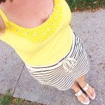 Yellow Tank Top and Striped Black and White Skirt