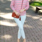 Pink and Brown Striped Sweater and a Pair of Light Jeans
