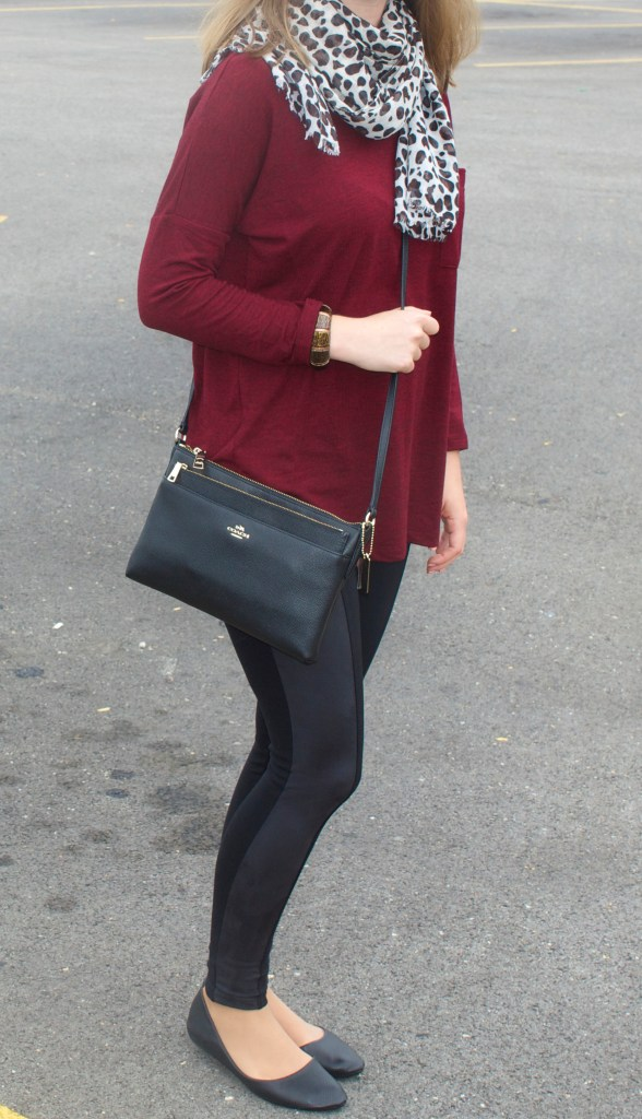 Burgundy Sweater with black suede leggings