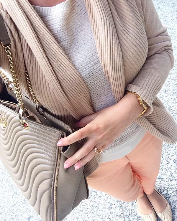 Peach pants and Tan Cardigan