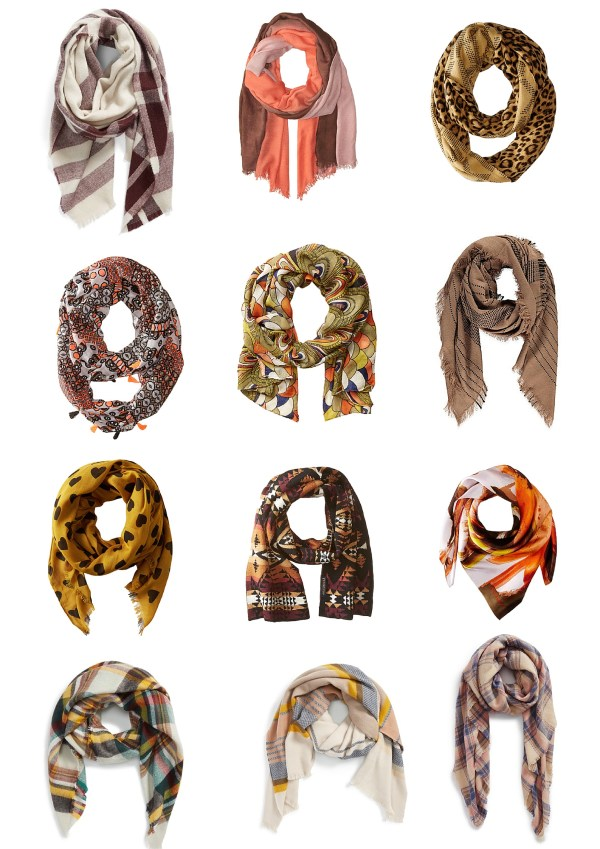 fall scarfs, fall colors, orange, brown, yellow scarfs