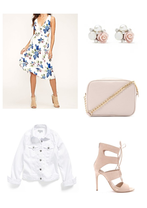 Spring Outfit Ideas - Floral, pastel pink and white
