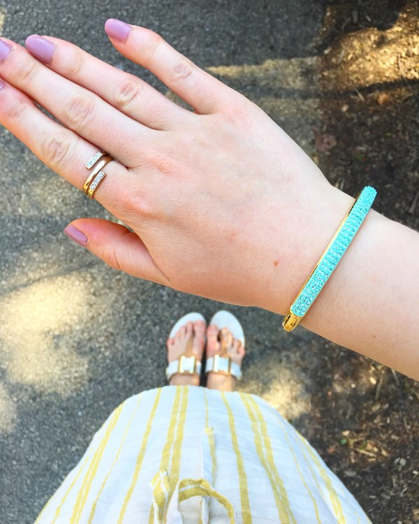Mint Bracelet and striped dress