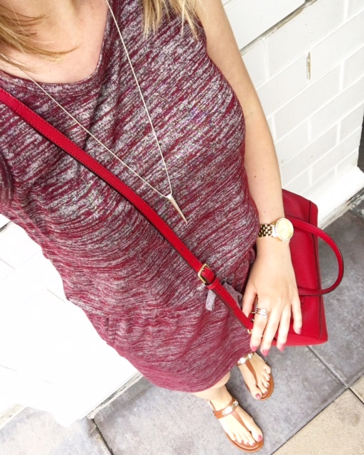 ruby dress, burgundy dress, red bag