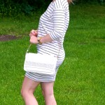 Olive and White Striped Dress