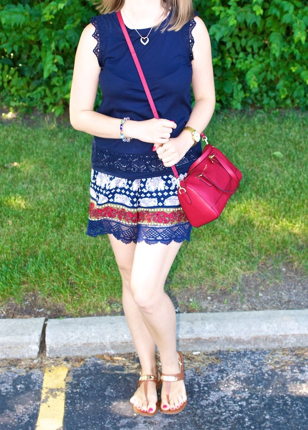 Lace and Elephant Print Outfit Idea