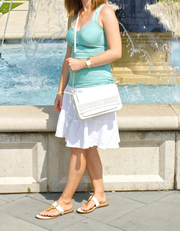 White Skirt and Mint Top Summer Outfit Idea