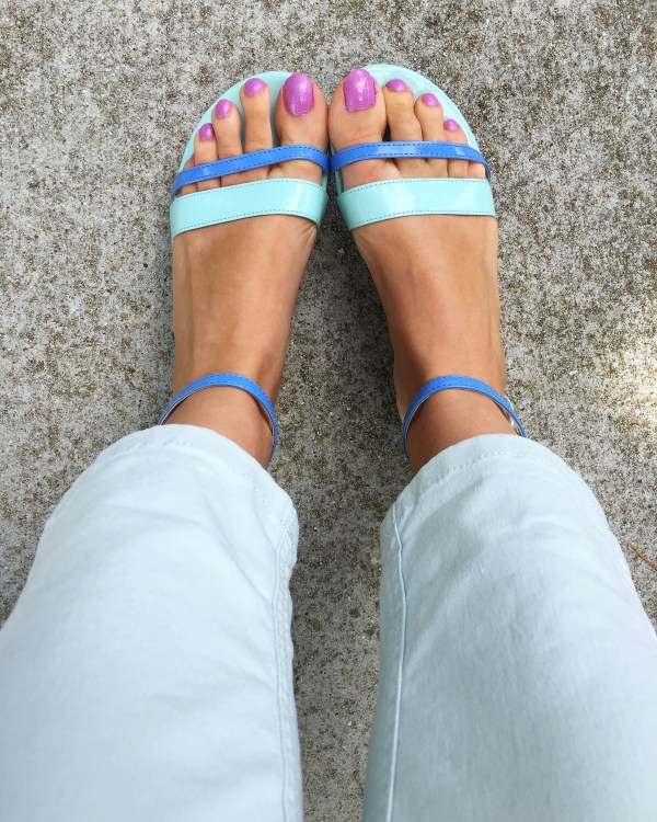 Two toned blue sandals