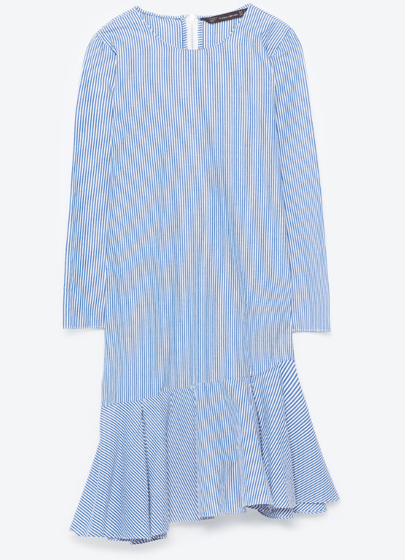 ASYMMETRIC STRIPED DRESS from ZARA