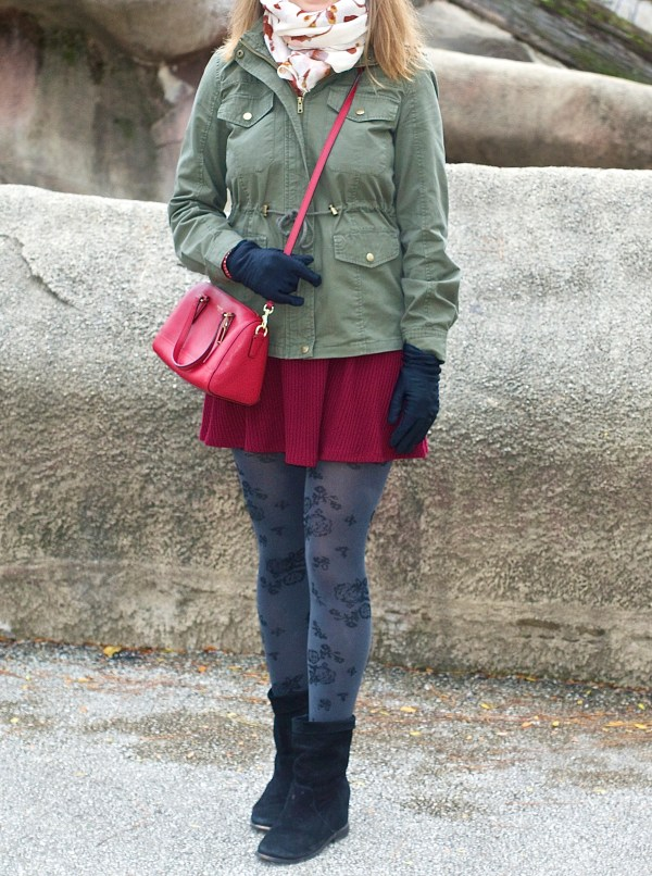 Burgundy Little Dress and Green Utility Jacket