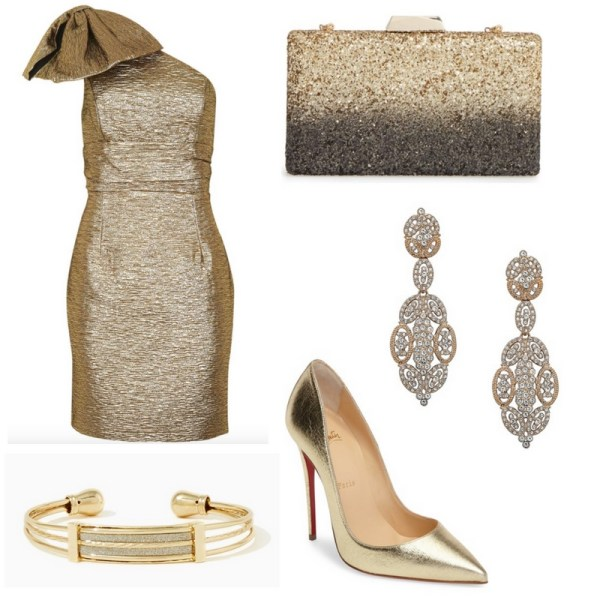 New Year's Eve Outfit Idea - Gold Dress