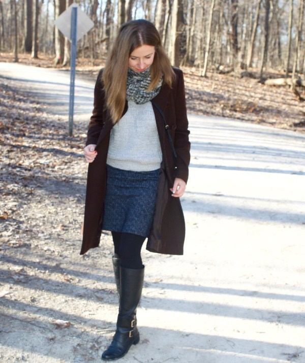 Brown, grey and blue - winter outfit idea