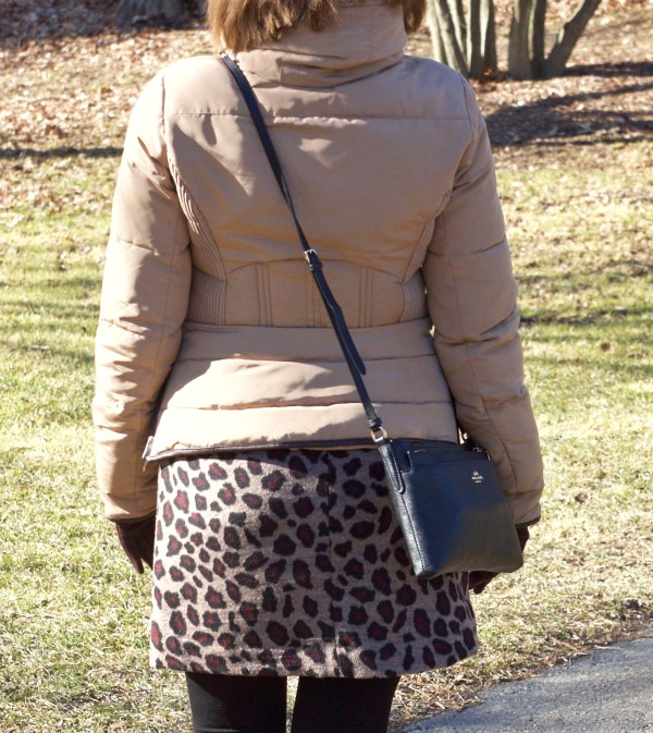 Brown leopard Skirt and Brown Zara jacket - Winter outfit idea