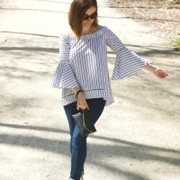 Striped Off-The-Shoulder Bell Sleeves Blouse - A Showstopper!