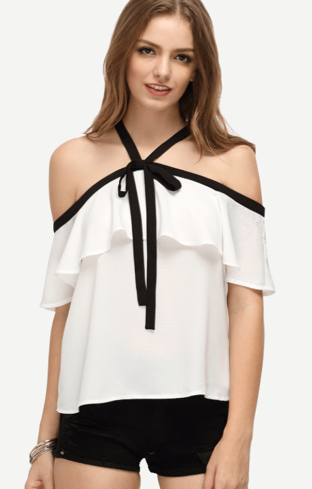 White Ruffle Halter Off The Shoulder Blouse