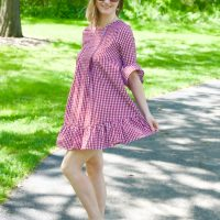 Red Gingham Ruffle Dress