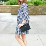 Black And White Gingham Dress With Bow Ties At The Back