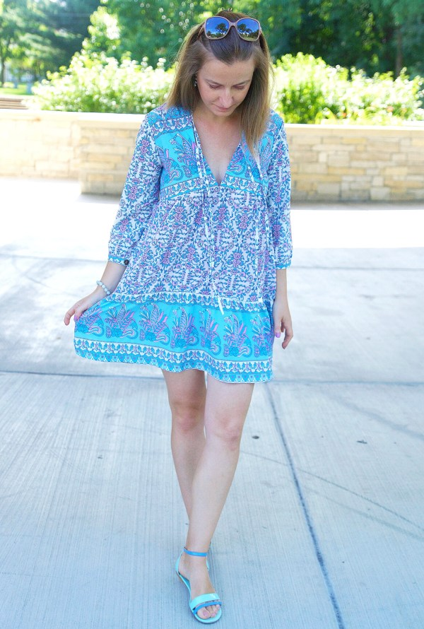Blue and purple summer beach dress