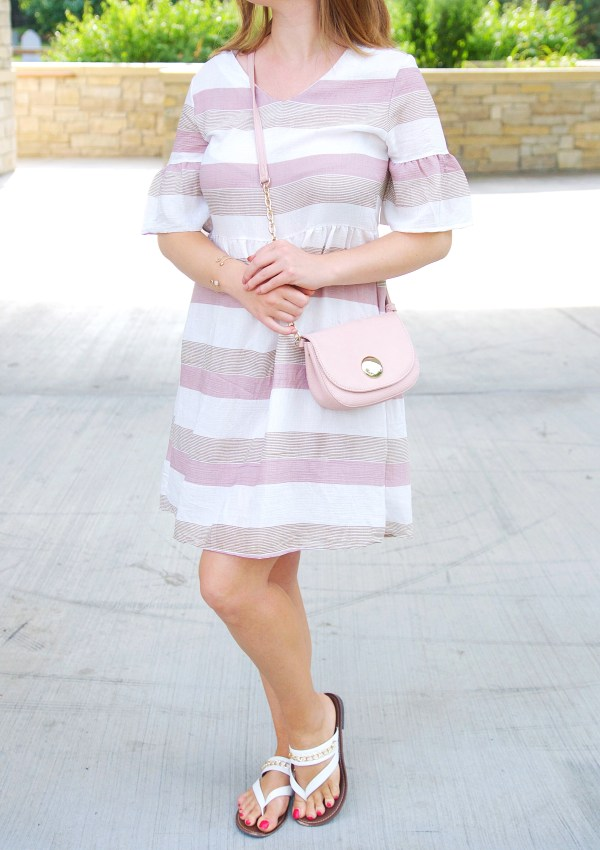 Striped pink, brown and white ruffle sleeves dress