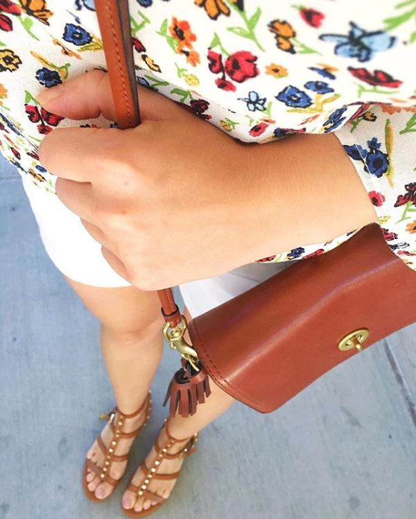Brown sandals and floral top