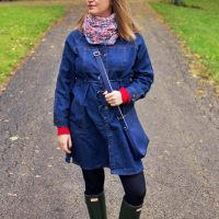 Drawstring Waist Denim Coat Perfect For Fall