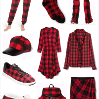 Red And Black Plaid Print Fashion Board
