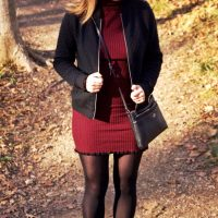 Wine Bodycon Turtleneck Dress And Black Bomber Jacket