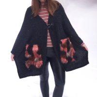 Faux Fur Pocket Patched Poncho And Black Leather Leggings
