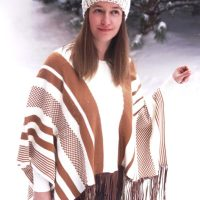 Brown And White Striped Tassel Hem Poncho