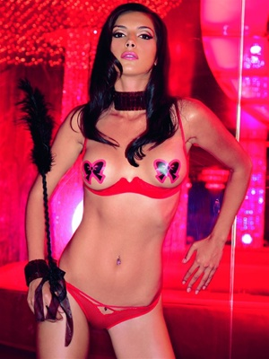 Open Cup Shelf Bra Pasties And Thong Set