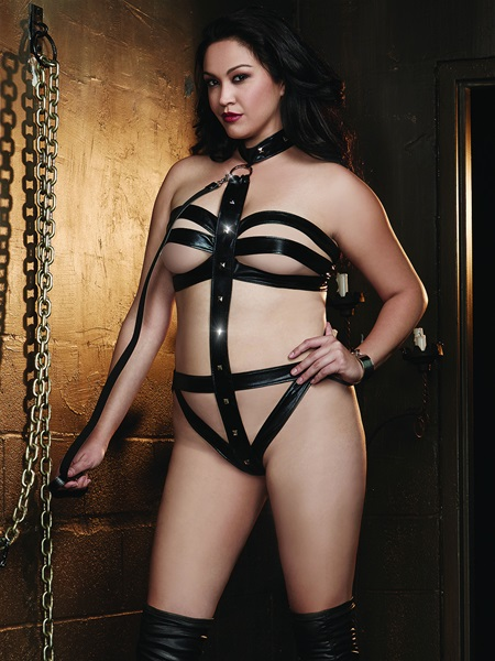 Plus Size Collared Fetish Teddy With Leash Set