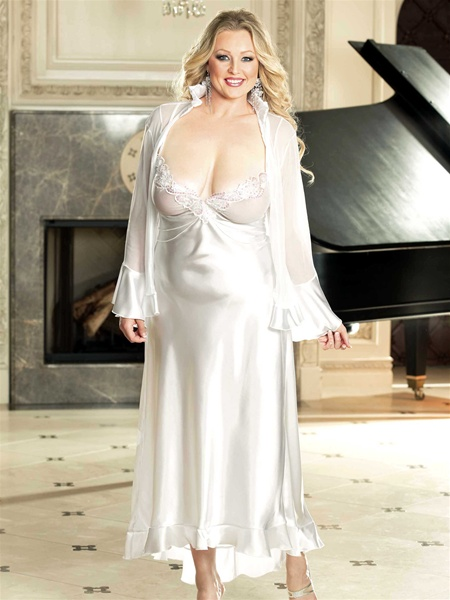Plus Size Charmeuse Long Gown
