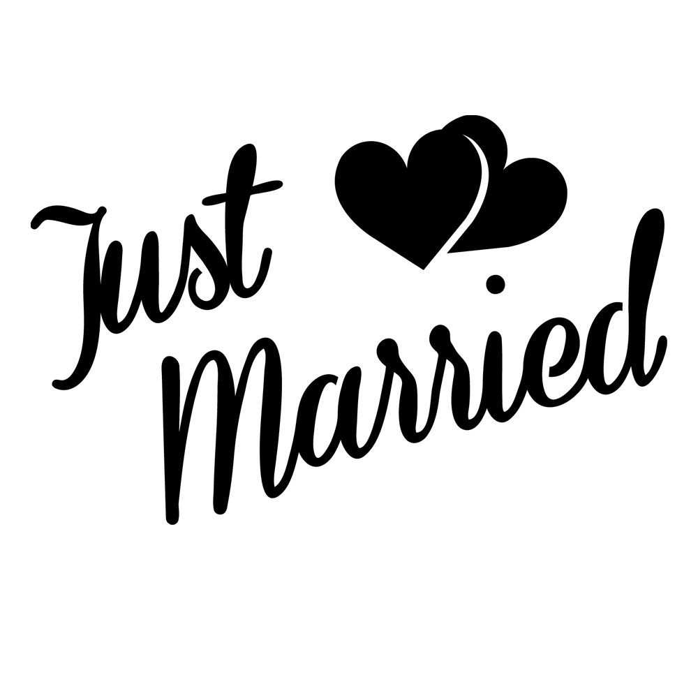 Just Married Quarter mark Stencil for Glitter Tattoos for