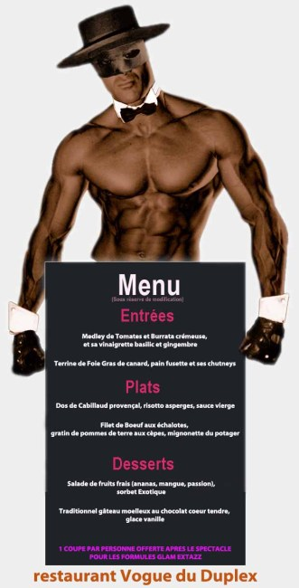 menu diner spectacle chippendales glamour boys