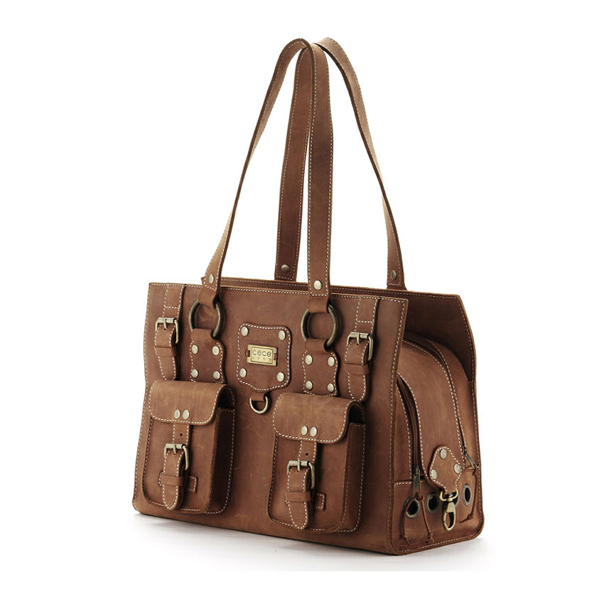 CeCe Kent Ralph Taos Brown Leather Dog Carrier