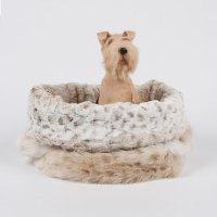 Snow Leopard Cuddle Cup Dog Bed by Susan Lanci Designs