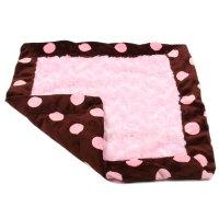 Susan Lanci Dog Blanket - Chocolate and Pink Minky Polka ...