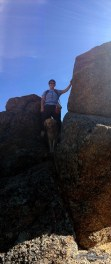 Scrambling around the boulders. Trails behind Ruby Mnt CG, Arkansas Rec. Area.