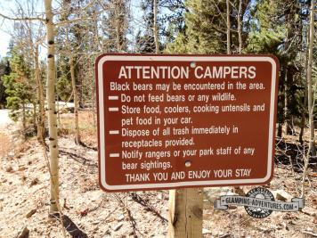 Warning signs all around. Aspen Meadows Campground. Golden Gate Canyon S.P.