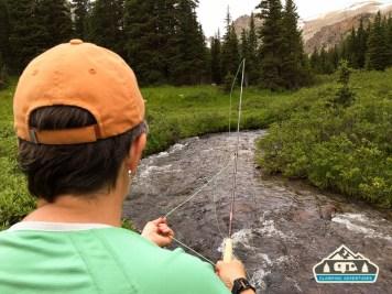 Fly fishing along Longs Lake Trail. S. St. Vrain.