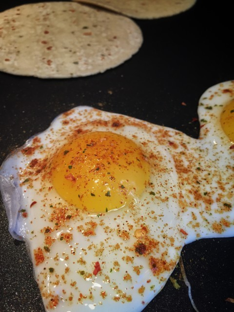 Eggs with taco spices.